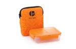 Prêt à Paquet  Sandwichbox  Brotdose mit Hülle 17 cm orange